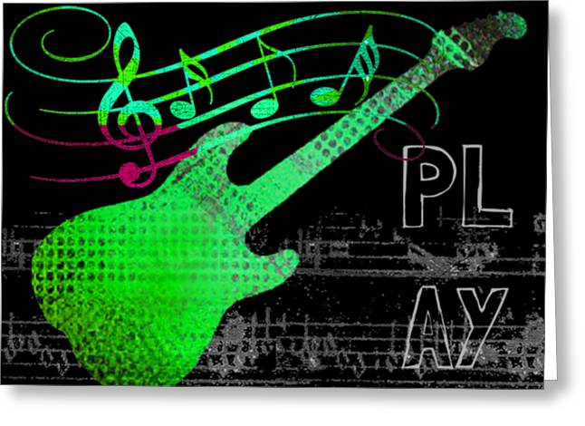 Greeting Card featuring the digital art Play 3 by Guitar Wacky