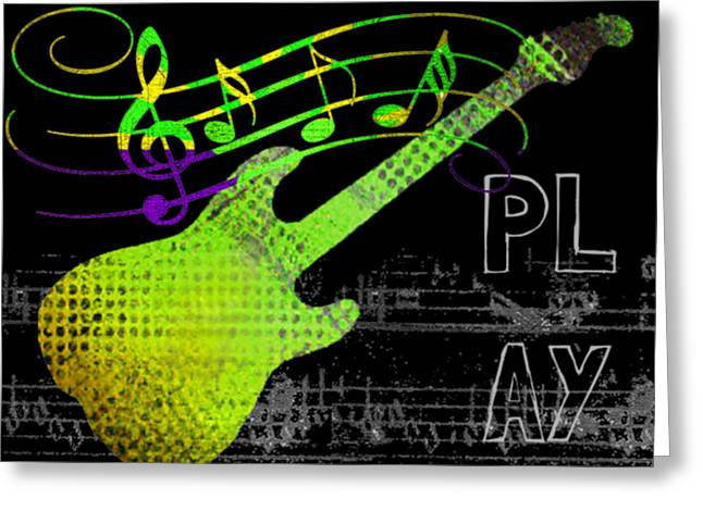 Greeting Card featuring the digital art Play 1 by Guitar Wacky