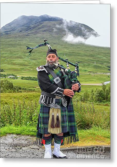 Playing Bagpiper Greeting Card by Patricia Hofmeester