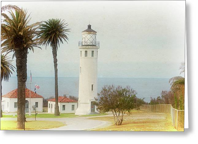 Point Vincente Lighthouse, California In Retro Style Greeting Card