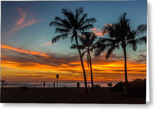 Poipu Beach Sunset - Kauai Hi Greeting Card