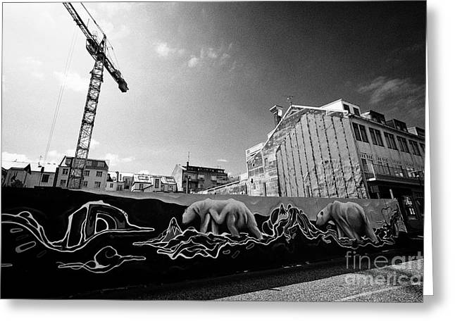 polar bear mural on protective hoardings surround a building site in downtown reykjavik Iceland Greeting Card by Joe Fox