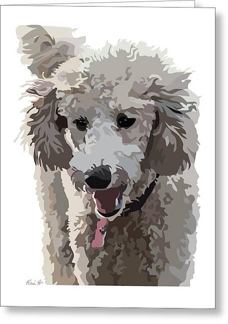 Poodle Portrait II Greeting Card by Kris Hackleman