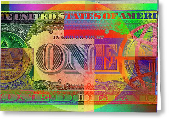 Pop-art Colorized One U. S. Dollar Bill Reverse Greeting Card