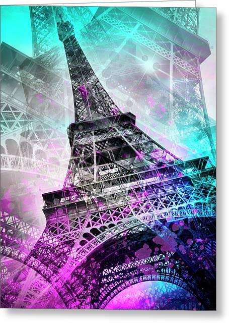 Pop Art Eiffel Tower Greeting Card by Melanie Viola