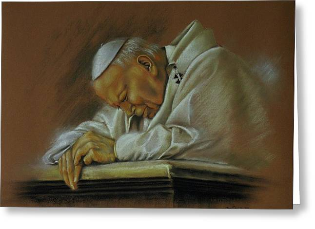 Portraits Of The Pope Greeting Cards - Pope John Paul 2nd. Praying Greeting Card by Tony Calleja