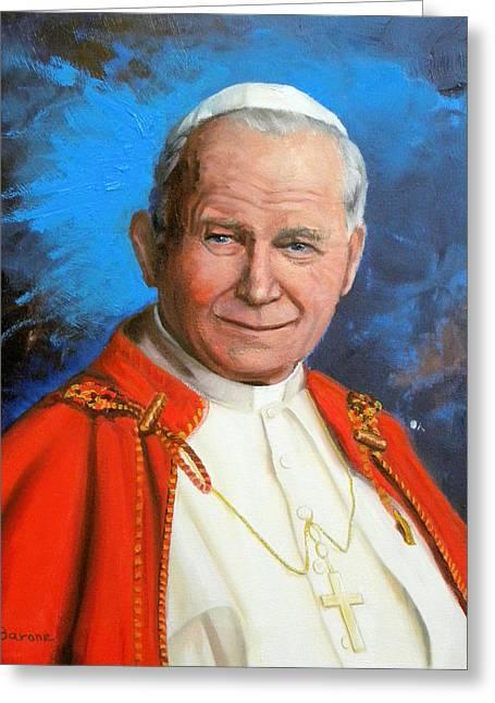Pope John Paul II Greeting Card by Richard Barone