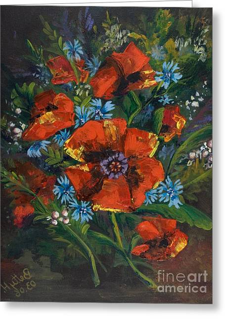 Poppies And Wildflowers  Greeting Card by Elisabeta Hermann