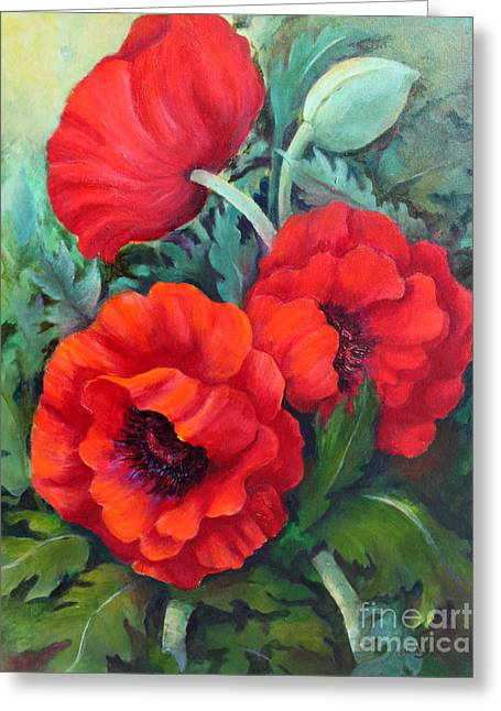 Greeting Card featuring the painting Poppy Family 1 by Marta Styk
