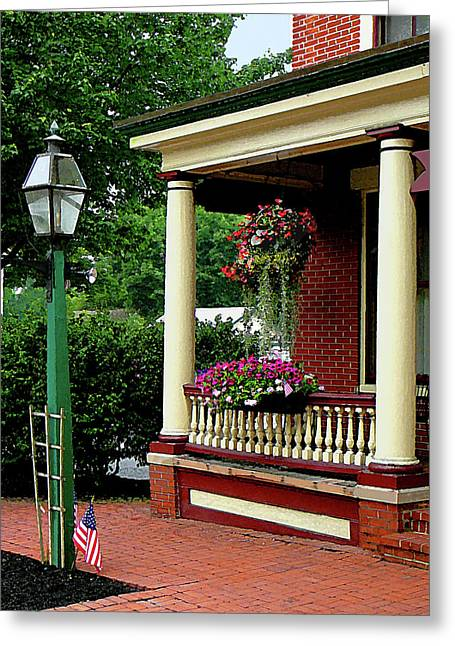 Porch With Hanging Plants Greeting Card by Susan Savad