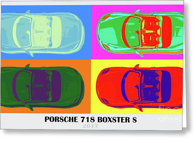 Porsche 718 Boxster S, Warhol Style, Office Decor Greeting Card by Pablo Franchi