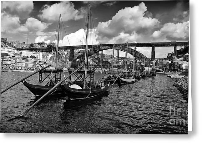 Port Wine Boats In Porto City Greeting Card by Jose Elias - Sofia Pereira