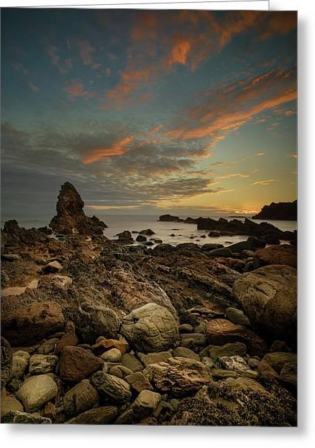 Porth Saint Beach At Dusk. Greeting Card by Andy Astbury
