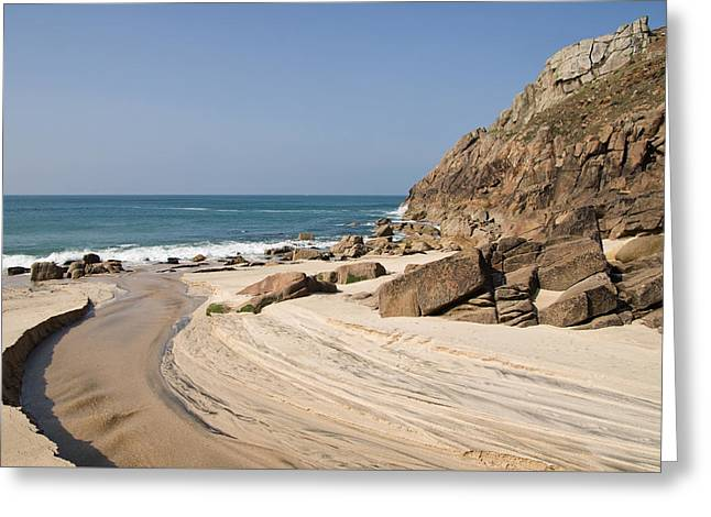 Portheras Beach In Nw Cornwall Greeting Card