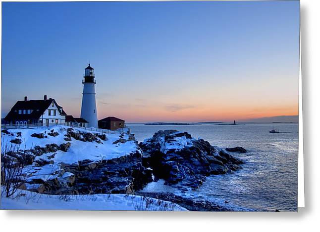 Portland Head Lighthouse Sunrise - Maine Greeting Card