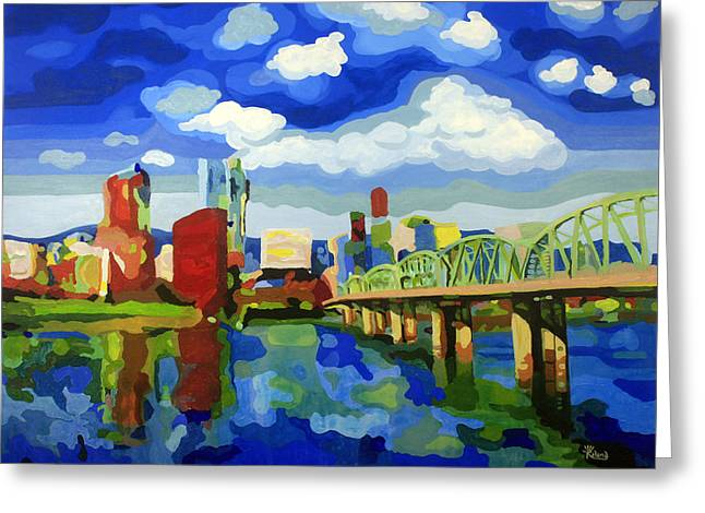 Portland In Color Greeting Card by Tracy Dupuis Roland