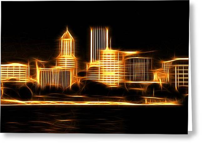 Greeting Card featuring the photograph Portland Oregon Skyline  by Aaron Berg