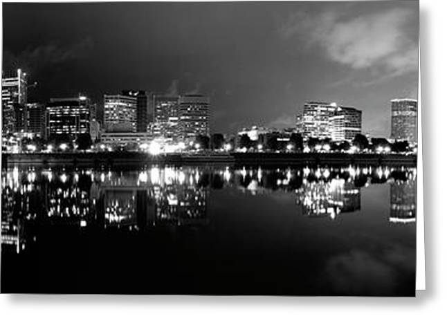 Portland Skyline Black And White Greeting Card