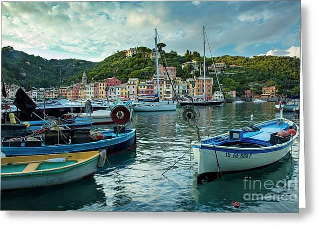Portofino Evening Greeting Card by Brian Jannsen