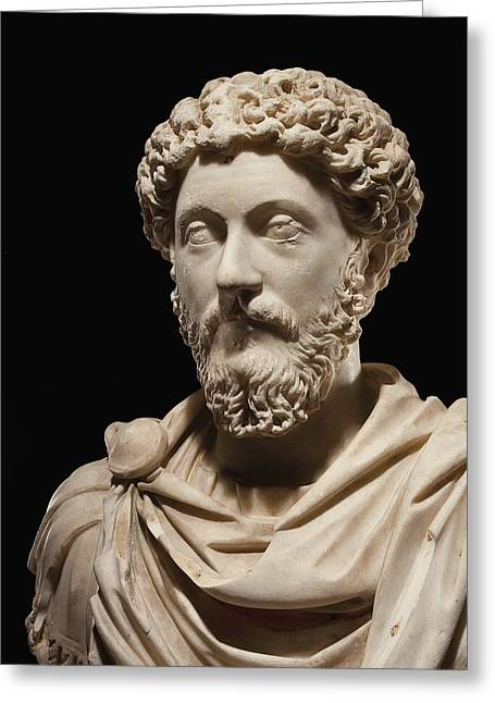 Portrait Bust Of Emperor Marcus Aurelius Greeting Card by Roman School