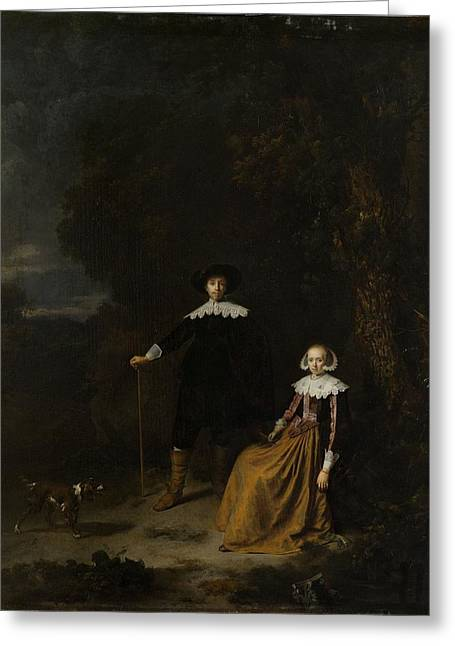 Portrait Of A Couple In A Landscape Greeting Card by Gerard Dou