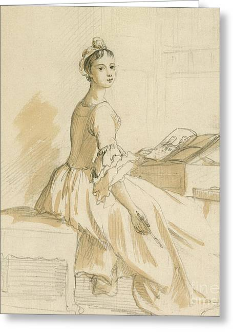 Portrait Of A Lady At A Drawing Table Greeting Card