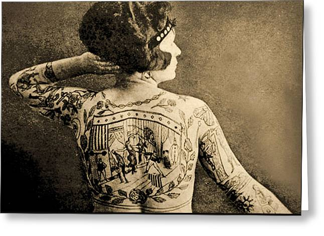Portrait Of A Tattooed Woman Greeting Card