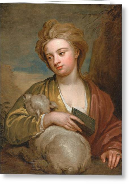 Portrait Of A Woman As St. Agnes Greeting Card by Godfrey Kneller