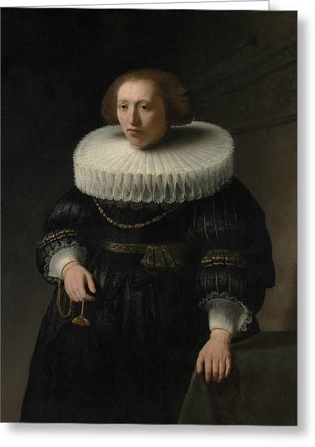Portrait Of A Woman, Probably A Member Of The Van Beresteyn Family Greeting Card by Rembrandt