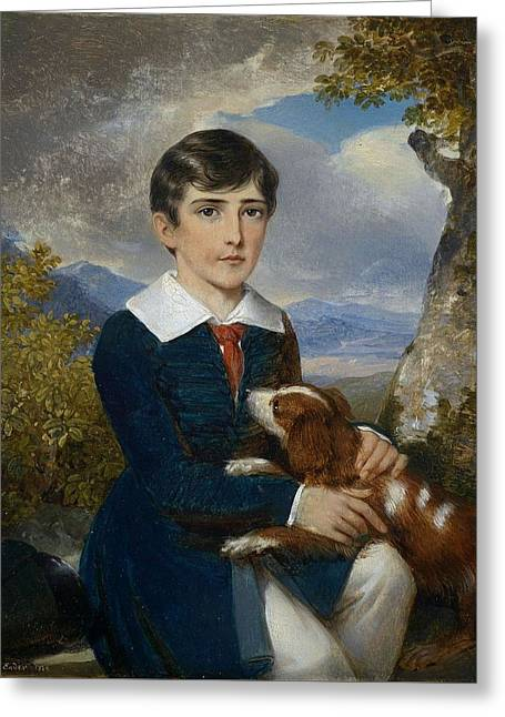 Portrait Of A Young Boy With A Spaniel Greeting Card by Johann Nepomuk