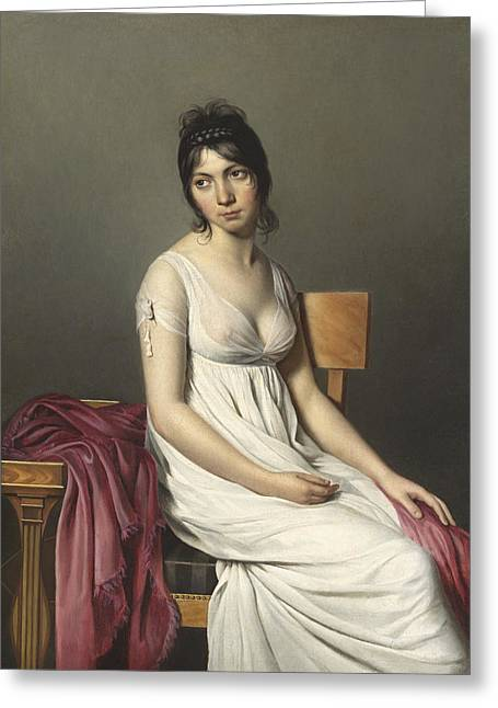 Portrait Of A Young Woman In White Greeting Card
