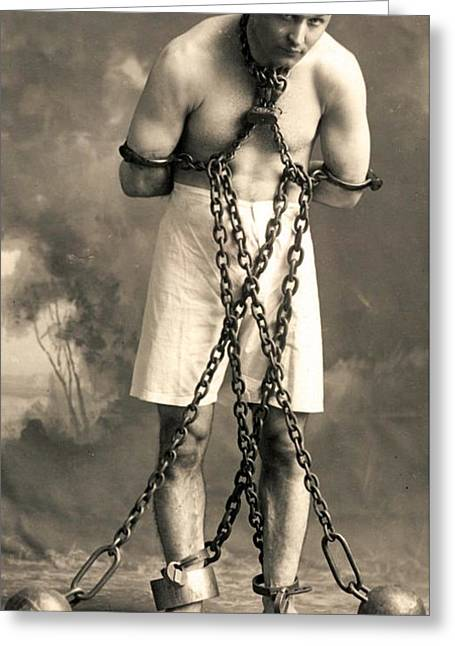 Portrait Of Harry Houdini In Chains. Circa 1900  Greeting Card