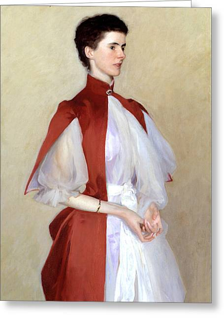 Portrait Of Mrs Robert Harrison Greeting Card by John Singer Sargent