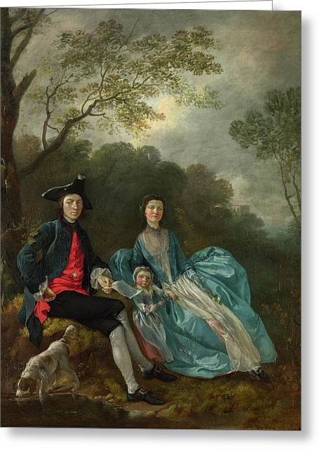 Portrait Of The Artist With His Wife And Daughter Greeting Card by Thomas Gainsborough