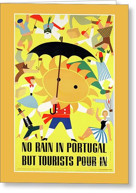 Portugal Vintage Travel Poster Restored Greeting Card by Carsten Reisinger