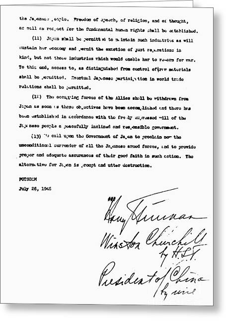 Potsdam Proclamation, 1945 Greeting Card by Granger