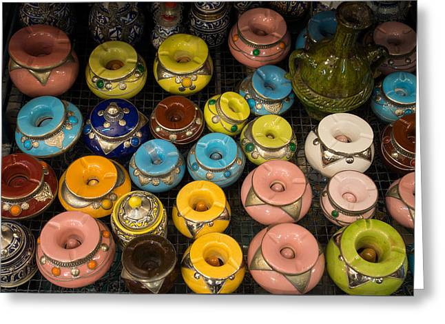 Pottery In Sales Room, Fes, Morocco Greeting Card by Panoramic Images