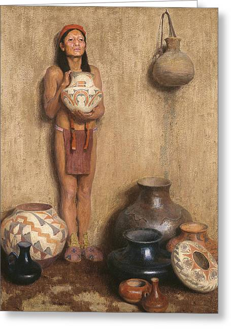 Pottery Vendor Greeting Card by Eanger Irving Couse