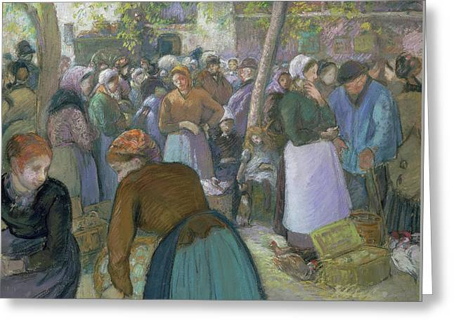 Poultry Market At Gisors  Greeting Card by Camille Pissarro