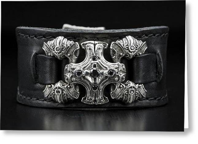 Power Chord Mens Leather Cuff Bracelet Greeting Card by Williamhenry Williamhenry