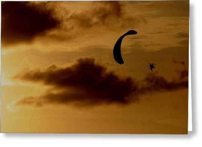 Power Hang Glider Greeting Card