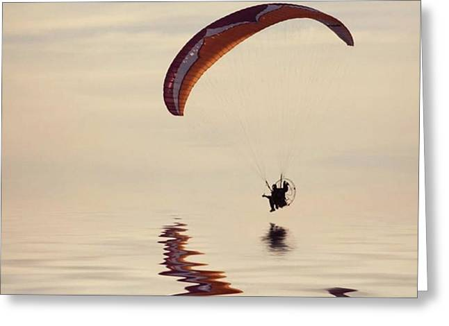 Powered Paraglider Greeting Card