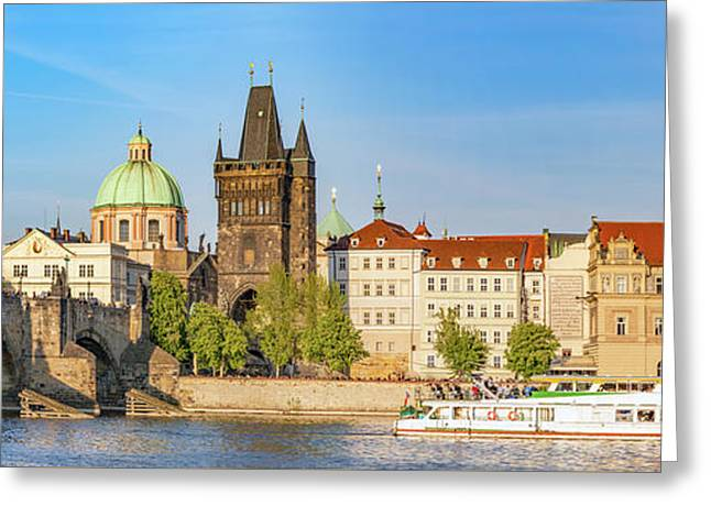 Prague, Czech Republic. Charles Bridge, Boat Cruise On Vltava River. Vintage Greeting Card by Michal Bednarek