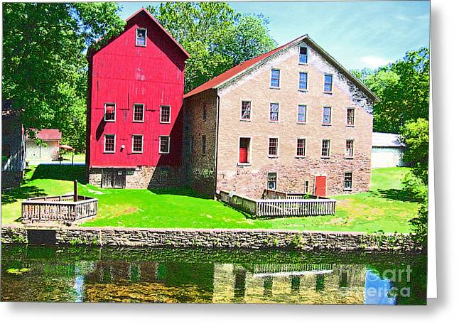 Prallsville Mill Greeting Card by Addie Hocynec