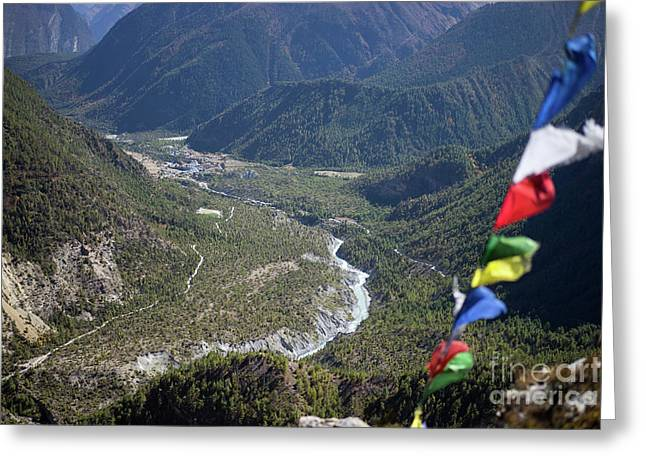 Greeting Card featuring the photograph Prayer Flags In The Himalaya Mountains, Annapurna Region, Nepal by Raimond Klavins