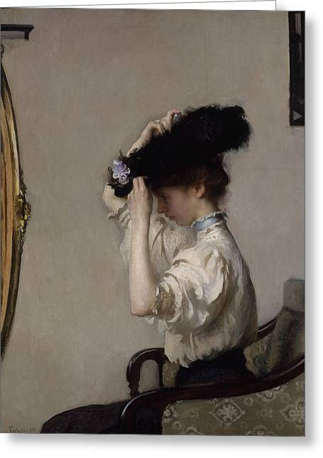 Preparing For The Matinee Greeting Card by Edmund Charles Tarbell