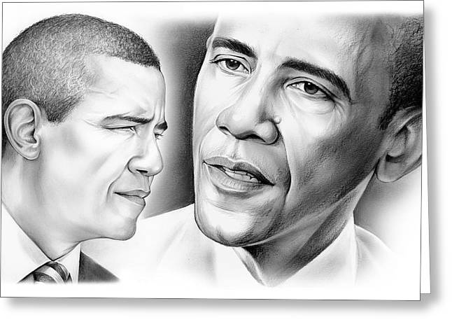 President Barack Obama Greeting Card by Greg Joens