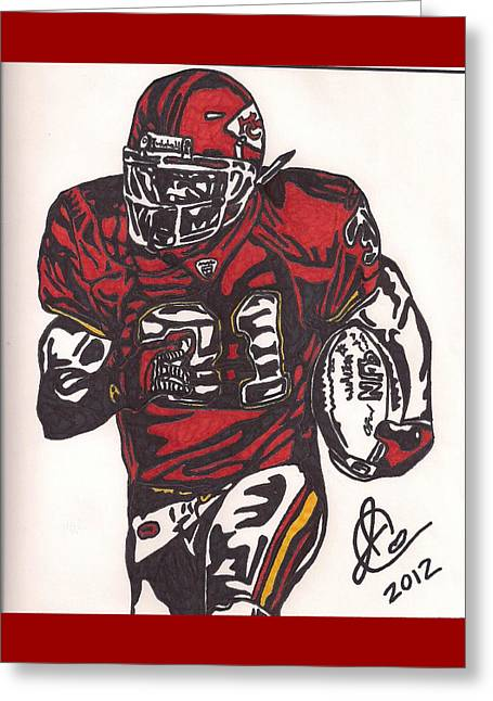 Greeting Card featuring the drawing Priest Holmes 2 by Jeremiah Colley