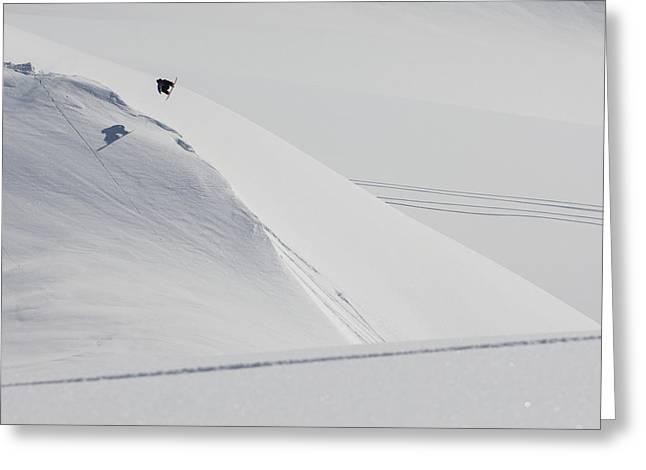 Professional Snowboarder, Marko Grilc Greeting Card by Dean Blotto Gray