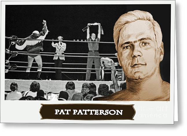 Professional Wrestling Legend Pat Patterson Greeting Card by Jim Fitzpatrick